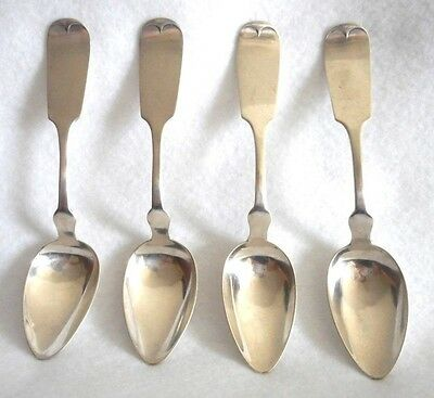Coin Silver Wood & Hughes New York, New York Set of 4 Teaspoons, ca. 1845