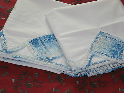 Pair Beautiful Antique Vintage Blue CROCHET LACE PillowCases