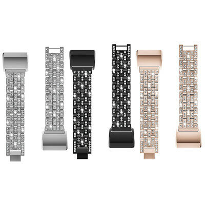 UK Rhinestone + Metal Strap Replacement Watch Band Bracelet For Fitbit Charge 2