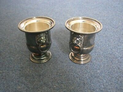 2 Viners Silver Plated Small Urns With Lion Handles.