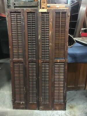 "circa 1930-40 solid mahogany interior louvered shutters PAIR 66"" h x 18.5"" wide"