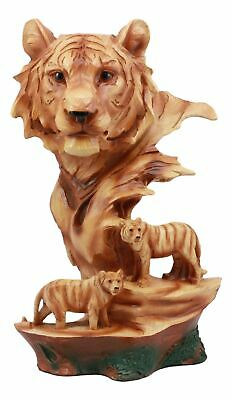 "Large Bengal Tiger Bust Statue 11.75""Tall Faux Wood Resin Tiger Family In Jungle"