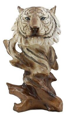 "Faux Wood Large Blue Eyed White Tiger Bust Statue 11""H Wildlife Siberian Tiger"