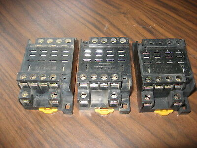 Lot of 3 Omron PTF14A-E Cube Relay Bases (14 Pin Square ) 10 Amp, 240 Volt