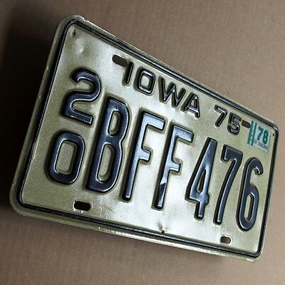 IOWA 75 Altes Nummernschild ORIGINAL US License Plate 20 BFF 476 TOP und RAR USA