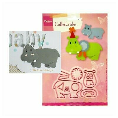 Eline's Happy Hippo Metal Die Cut Set Marianne Cutting Dies COL1450 Animals Zoo