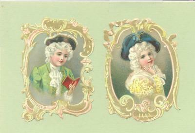 Victorian Die Cut Scraps, Original, Beautifully Dressed Girl and Boy   U25