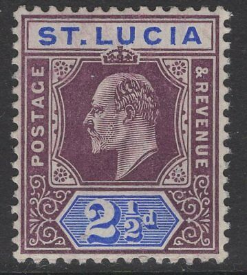 ST.LUCIA SG68a 1904 2½d DULL PURPLE & ULTRAMARINE CHALK SURFACED PAPER MTD MINT
