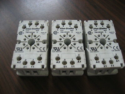Lot of 3 Allen Bradley 700-HN100 Cube Relay Bases (8 Pin Round ) 10A, 300V
