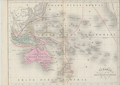 1875 French Antique Map - OCEANIA (Australia & The Pacific) - Meissas & Michelot