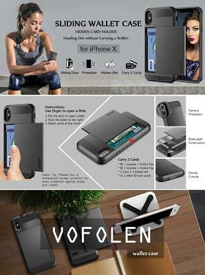 huge discount 4faf3 bb8f4 IPHONE X CASE, Vofolen Upgraded iPhone X Wallet Case Card Holder ID Slot  Pocket