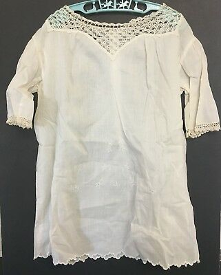 Vintage Cotton Linen Girls Dress w/ Embroidered Bottom & Crochet Neck & Arms