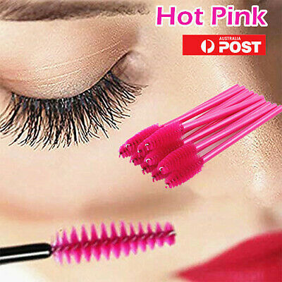 LOT 1000PCS Disposable Mascara Wands Eyelash Brush Applicator Extension Hot Pink