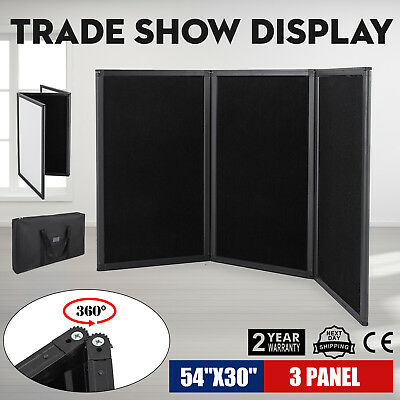 "54 X 30"" 3 Panel Tabletop Display Presentation Board Exhibition Black Stand"