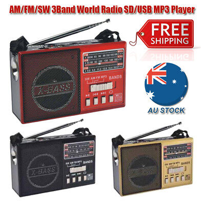 AM/FM/SW 3Band World Radio SD/USB MP3 Player Led Torch Rechargeable