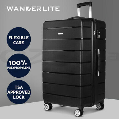 "Wanderlite Polypropylene Luggage 28"" Suitcase PP Trolley TSA Travel Hard Case BK"