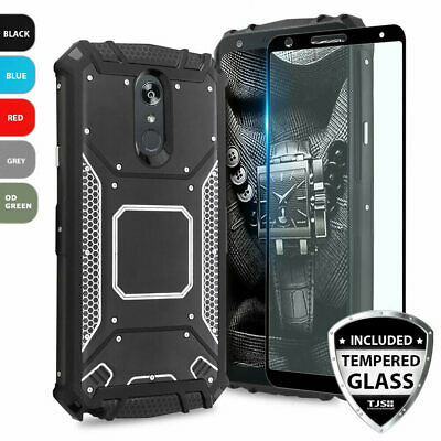 For LG Stylo 4 Metal Plate Magnetic Phone Case Cover+Black Tempered Glass Screen