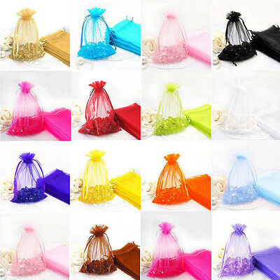 Hot 9x7CM 100Pcs Rose Gauze Organza Wedding Favors Party Candy Gift Bags Pouches