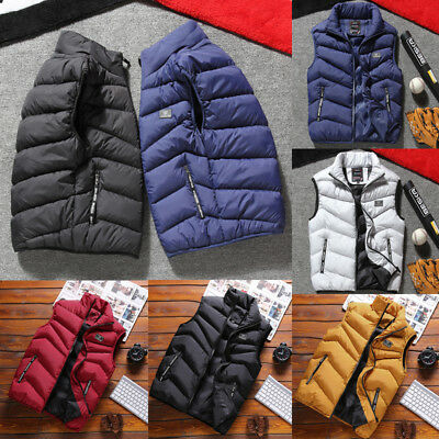 Winter Mens Cotton Quilted Vest Body Warmer Warm Sleeveless Padded Jacket Coat