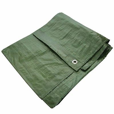 "New 12x8"" Green Waterproof Tarpaulin Heavy Duty Strong Light Weight Ground Sheet"