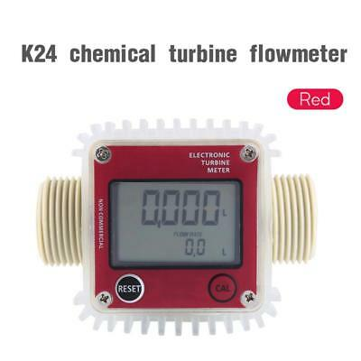 Turbine Digital Diesel Fuel Flow Meter For Chemicals Water Red K24