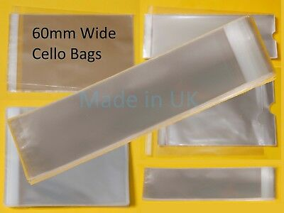 60mm Wide Clear Tall/Slim Cello Display Bags for Bookmarks - Cellophane Bag