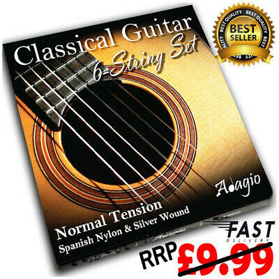 Adagio Classical Guitar Strings Spanish Nylon Normal Gauge Set RRP £9.99 ✯✯✯✯✯