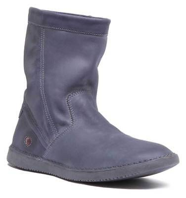 Softinos Til402 Womens Soft Leather Slouch Ankle Boots In Navy Size UK 3 - 8