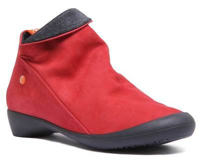 Softinos Farah Womens Casual Soft Leather Short Ankle Boots In Red UK Size 3 - 8