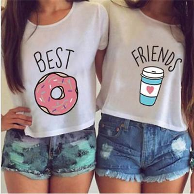 Best Friends Casual Matching Tshirts Tops Teen Donut Coffee Funny Tees CB