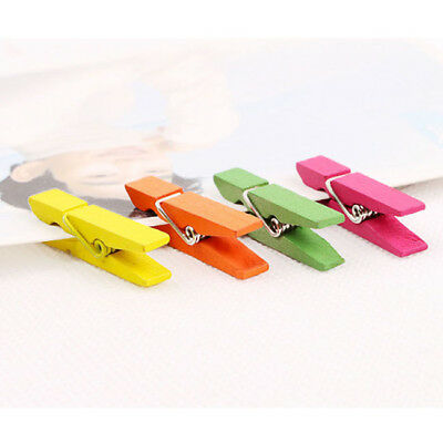 20x Multi-color Mini Wooden Pegs Craft Wedding Hanging Photo Clips Tiny Clip Z