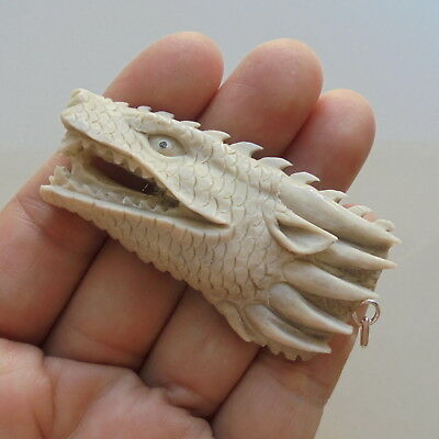 Dragon Head Pendant,Dragon Carving From Deer Antler Carving w Silver Bail 071809