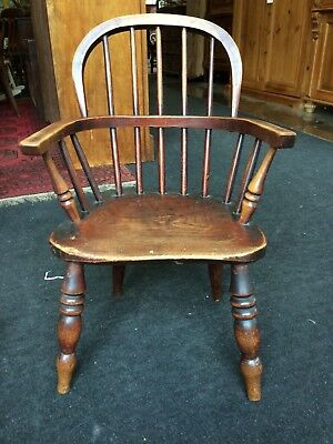 Sweet Little Georgian Windsor Back Elm Childs Country Arm Chair