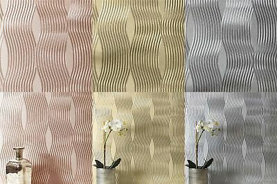 Foil Wave Wallpaper Luxury Textured Vinyl Metallic Silver Rose Gold Champagne