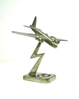 Rare French Art Deco Streamline Airplane Aviation Metal Sculpture Antique 30S