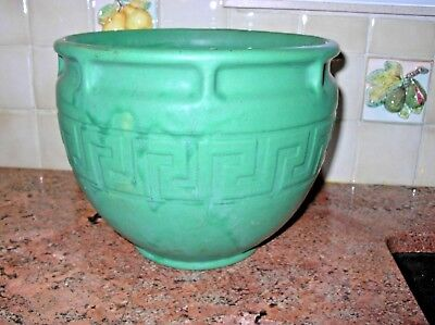 Rare Vintage Arts & Crafts Brush McCoy Matt Green Aegean Greek Key Jardiniere