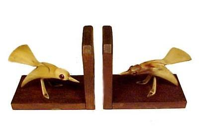 Vintage Wood Bookends Bone Carved Sap Sucker Bird with Glass Eyes Wooden