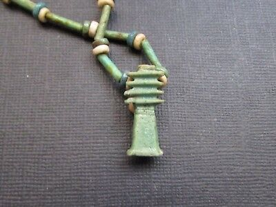 NILE  Ancient Egyptian Djed Amulet Mummy Bead Necklace ca 1000 BC