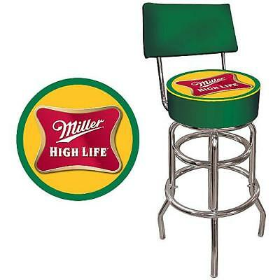 MILLER HIGH LIFE PADDED BAR STOOL w/ BACK