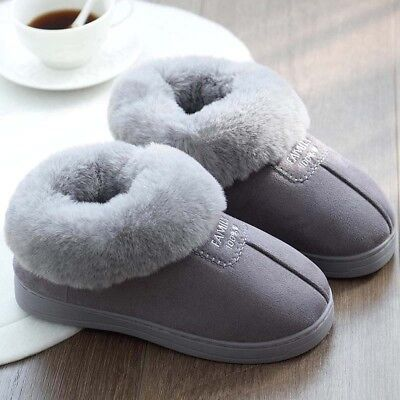 Womens Winter Warm Fur Lined Suede Thick Slippers Soft Cotton Indoor House Shoes