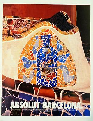 1999 Absolut Barcelona Colorful Mosaic Tile Antonio Gaudi Style Photo Print AD