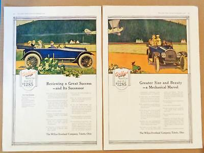 1916 Willys Overland Knight 88-4 Car Airplane Herbert Paus Art Print Ad 2 Pages