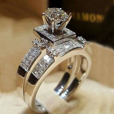 Chic Women White Sapphire Silver Ring Set Wedding Engagement Jewelry Gift Sz6-10
