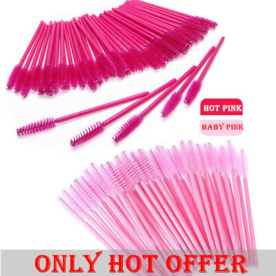 50/100/500x Pink Eyelash Brush Applicator Makeup Disposable Mascara Wands Set CU