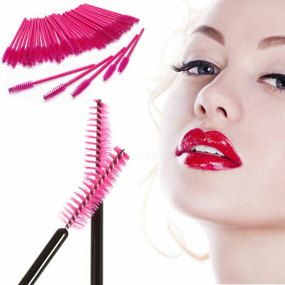 HOT PINK Disposable Eyelash Lash Makeup Brushes Wand Mascara Wands Applicator CU
