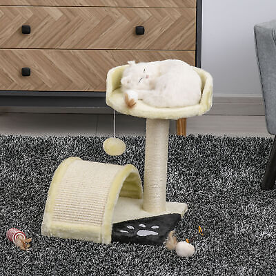 """17"""" Cat Scratching Tree Kitty House Furniture Pet Post Activity Center Beige"""