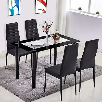 5 Piece Tempered Glass Dining Table Set and 4 Chairs Kitchen Room Furniture