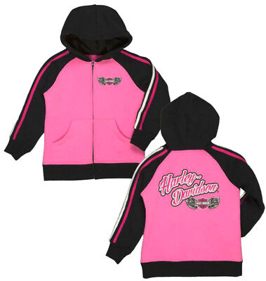 Harley-Davidson® Little Girls Pink Long Sleeve Full-Zip Fleece Hoodie 653387