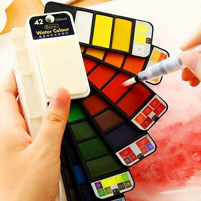Portable Foldable Solid Watercolor Pigment Paint Set With Water Brush Color TU