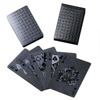 UK Black Playing Cards Deck Magic Card Plastic Foil Poker Waterproof Cards Game